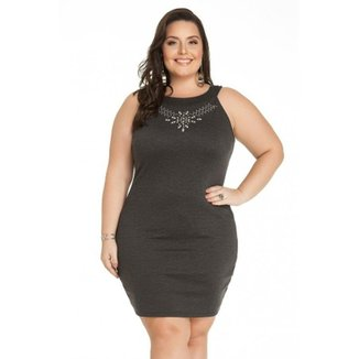 1c4954776 Vestido Miss Masy Escuro com Pedras Plus Size