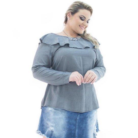 a02b8f590 Blusa Confidencial Extra Jeans Manga Longa London com Babado Plus Size  Feminina - Chumbo