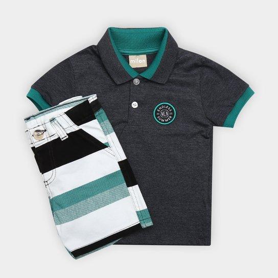 ff6bfb287832cc Conjunto de Camisa Polo + Bermuda Infantil Milon Masculino - Chumbo e Verde