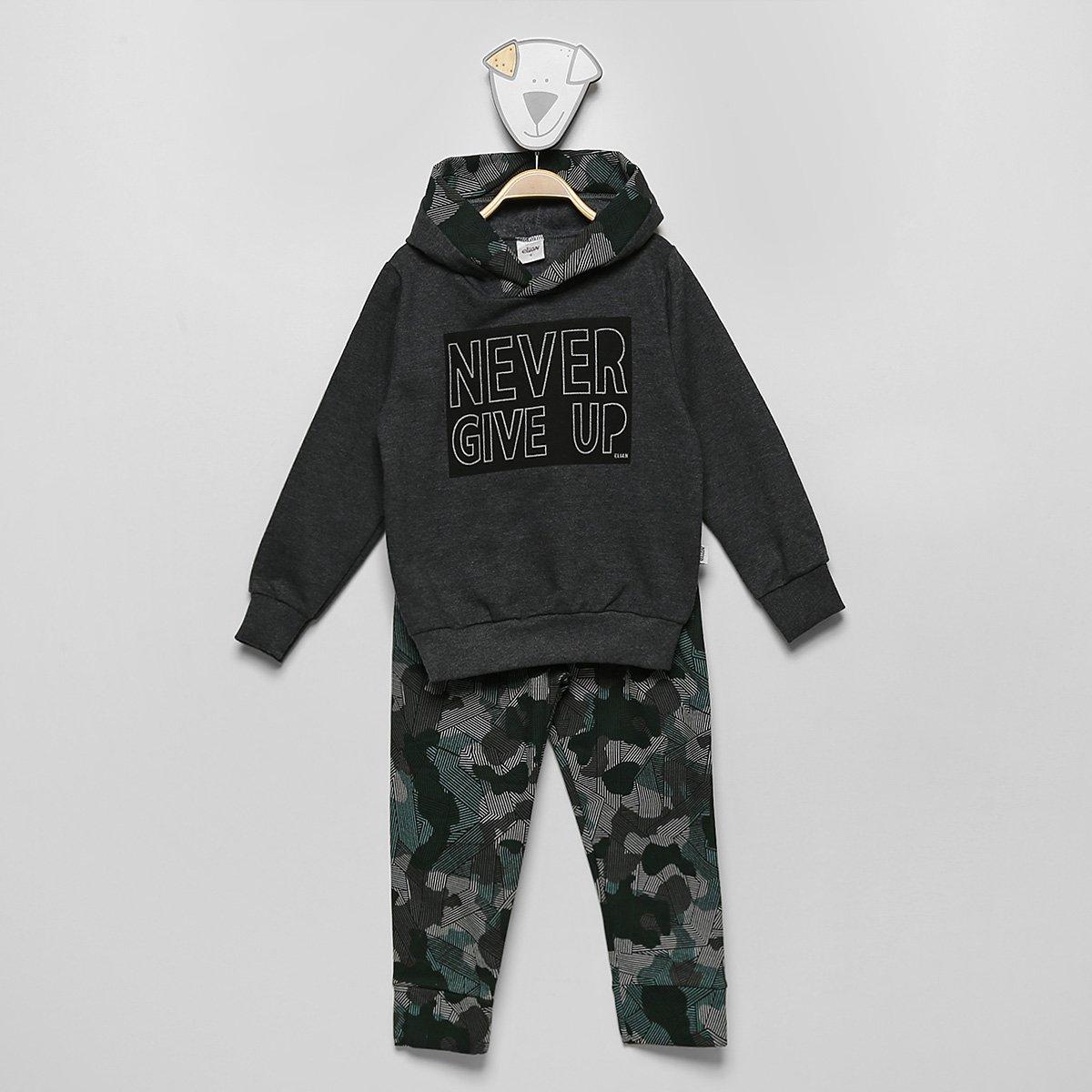 Conjunto Moletom Infantil Elian Estampado Capuz Blusa + Calça Masculino
