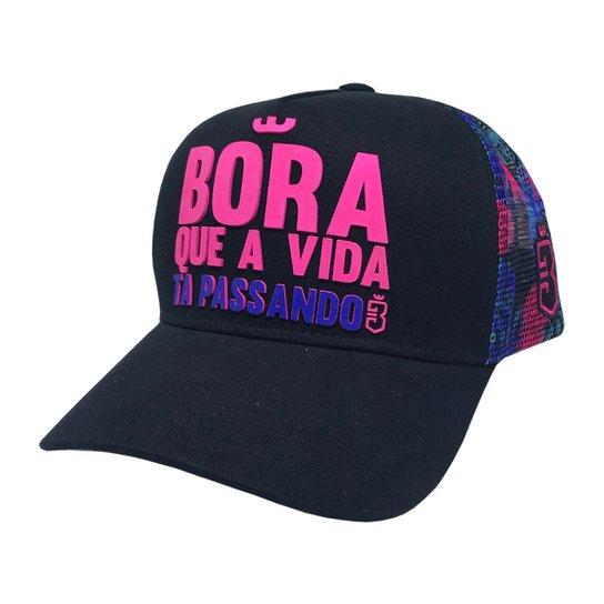 539583a43c Boné Trucker Bora Floral - Pink e Roxo