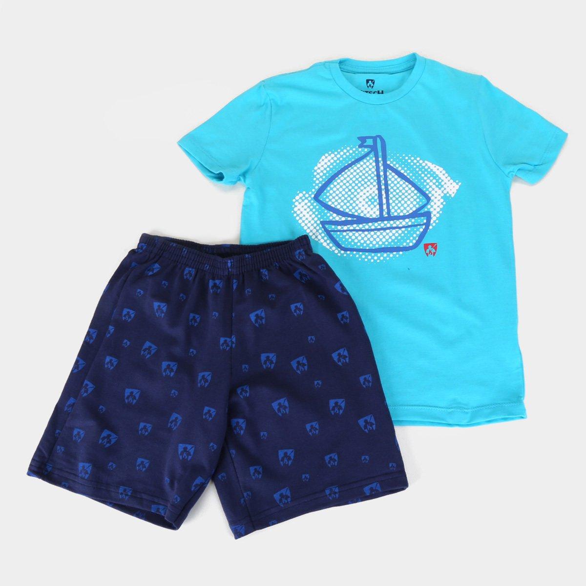 Conjunto Infantil MR. Kitsch Camiseta Barco + Short Full Print Masculino