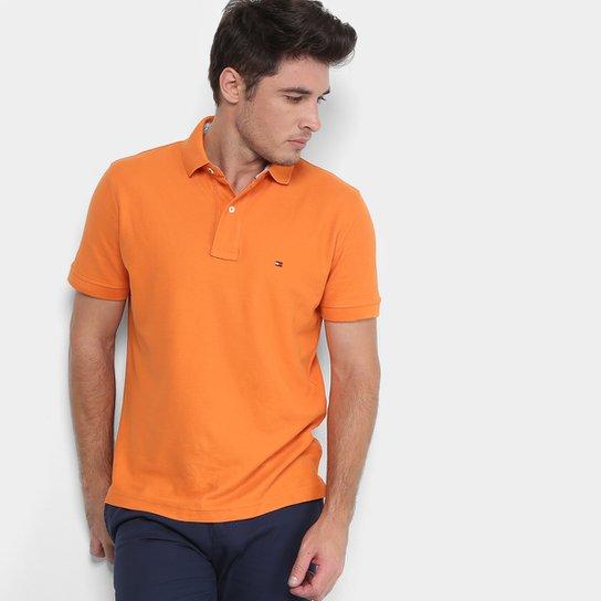 966a734d4eded Camisa Polo Tommy Hilfiger Performance Regular Elastano Masculina - Laranja
