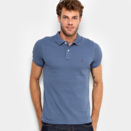 9a989a2a0a Camisa Polo Tommy Hilfiger Slim Fit Clássica Masculina - Azul Escuro