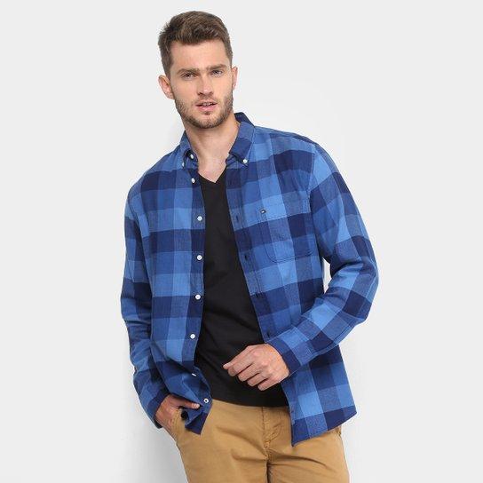d468a5d92 Camisa Xadrez Manga Longa Tommy Hilfiger Regular Fit Bolso Masculina - Azul  Escuro