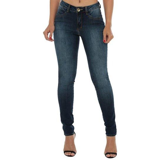 74881e0aa Calça Jeans Denuncia Mid Rise Skinny Feminina - Azul Escuro