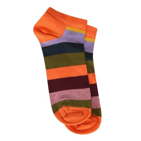8eef07529 Meia Soquete Happy Socks Stripe Low Sock Feminina - Laranja - Compre ...