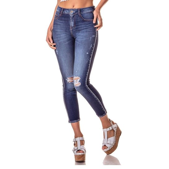 0c63f0d66d Calça Jeans Denim Zero Skinny Média Cropped Detalhe Lateral Feminina - Azul  Escuro