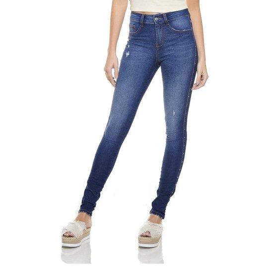 ba9978d7f Calça Jeans Denim Zero Skinny Média com Metais Feminina - Azul Escuro