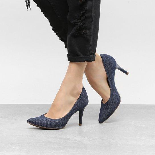 9a93900d16 Scarpin Via Uno Salto Alto Jeans Feminino - Azul Escuro