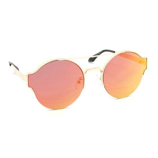 2b4c4585422eb Óculos de Sol Redondo Style Lente Espelhada Laranja - Laranja ...