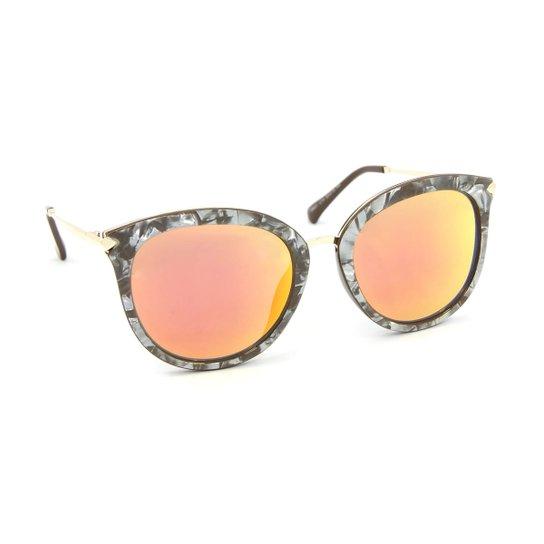 Óculos de Sol Estilo Gatinha Marmorizado Lente Espelhada Laranja - Laranja ebc8b32d17