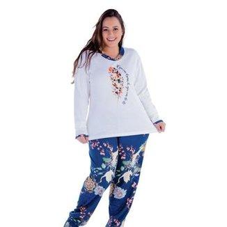 2e6161626 Pijama Plus Size Victory Inverno Frio Longo Feminino
