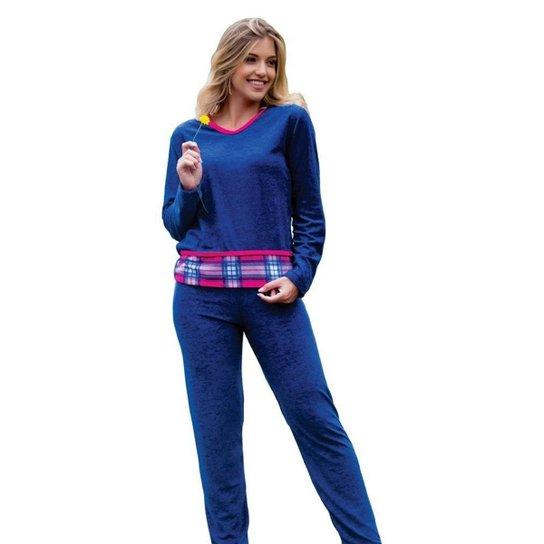 cea637571a6d Pijama Feminino Victory Plush Inverno Frio Longo Adulto - Azul Escuro