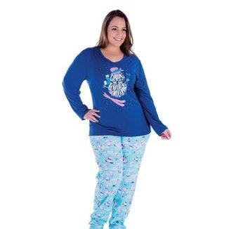 63de18c60 Pijama Plus Size Victory Inverno Frio Malha Fria Feminino