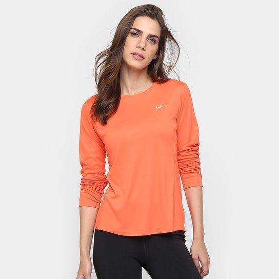 Camiseta Nike Dri-Fit Miler Manga Longa Feminina - Compre Agora ... f6c4ddc312bee
