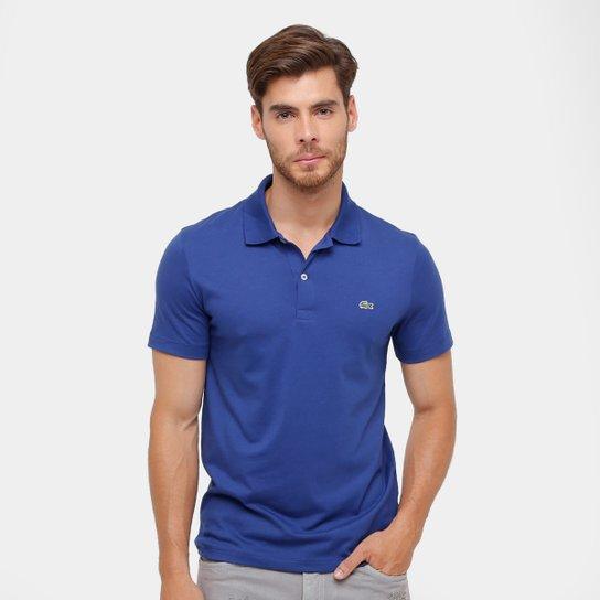 Camisa Polo Lacoste Malha Original Fit Masculina - Azul Escuro ... 7f6f9c259a