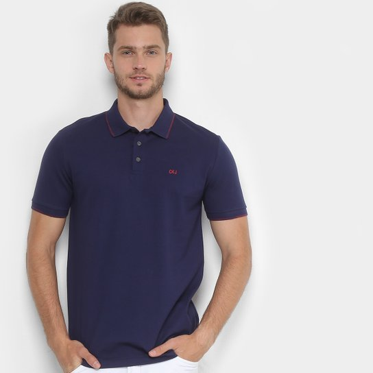 a2be4daca Camisa Polo Calvin Klein Bordado Masculina - Azul Escuro