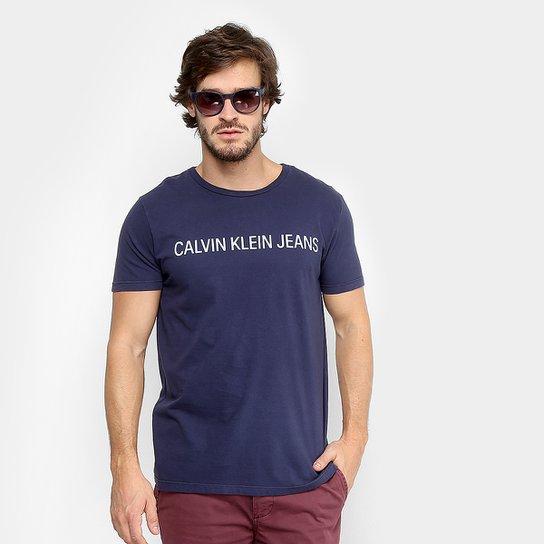 efc763c703829 Camiseta Calvin Klein Estampa Logo Masculina - Azul Escuro - Compre ...