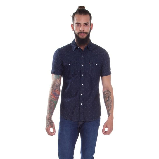 Camisa Jeans Levis Short Sleeve Classic Western Escuro Masculina - Azul  Escuro aacac36207e