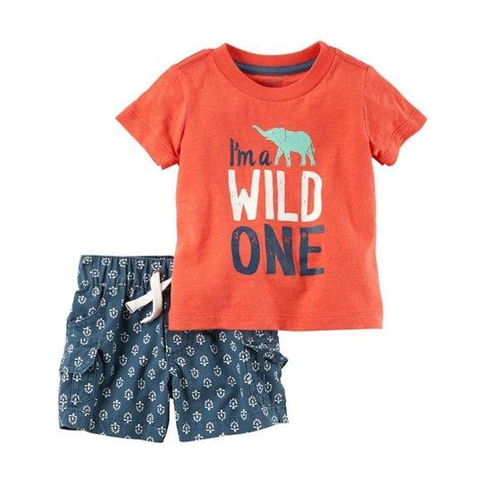 Conjunto Infantil Carter s Camiseta e Short Wild One Masculino - Laranja b37a6d746b0