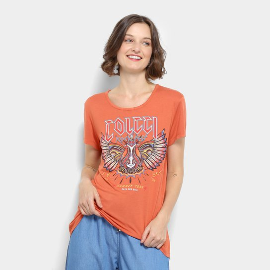 Camiseta Colcci Estampada Feminina - Laranja - Compre Agora  60e0d68995a
