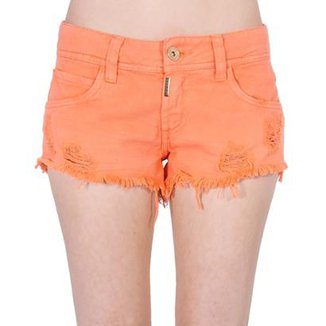 2c1f3fe10 Short Sarja Destroyed Desfiado Color Block Colcci Feminino