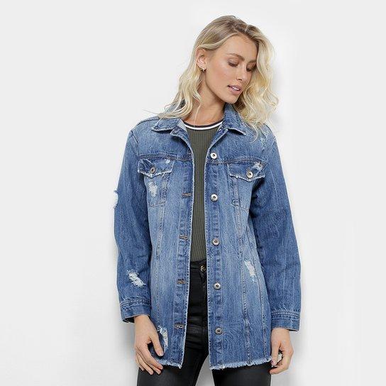 7ee08e7ed Jaqueta Jeans Colcci Estonada Feminina - Azul Escuro