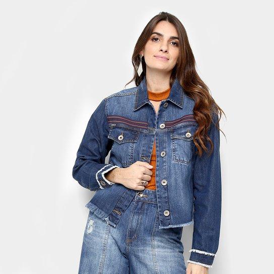 6718160dc Jaqueta Jeans Colcci Bordada Feminina - Azul Escuro