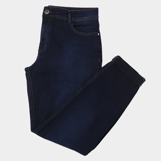 f84169318 Calça Jeans Skinny Colcci Fátima Estonada Com Dobra Cintura Média Feminina  - Azul Escuro