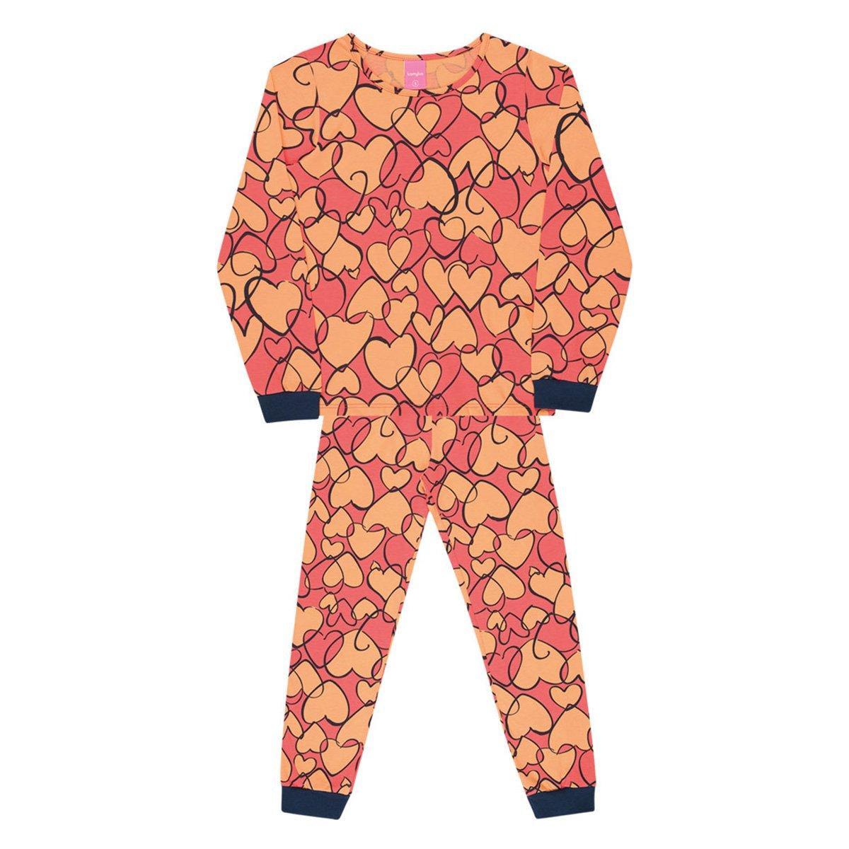 Pijama Infantil Kamylus Corações Meia Malha Longo