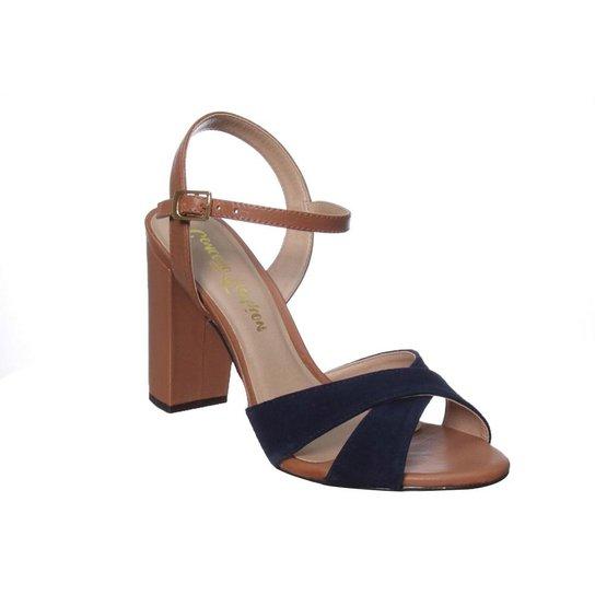 82f353cd5b Sandália Salto Grosso Conceito Fashion Couro Camurça Azul - Azul Escuro