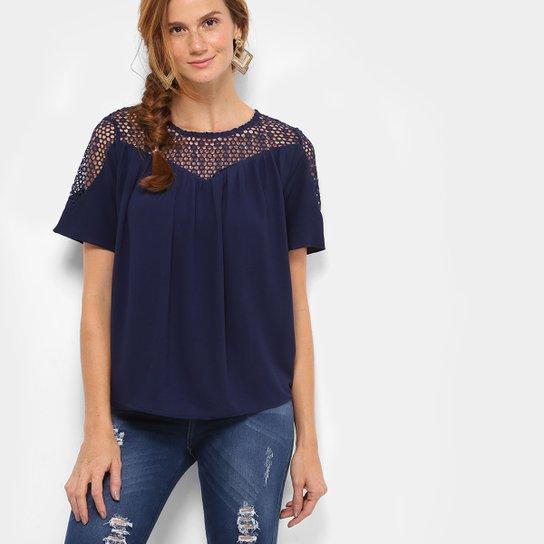 2245d9f50 Blusa Top Moda Vazada Feminina - Azul Escuro - Compre Agora