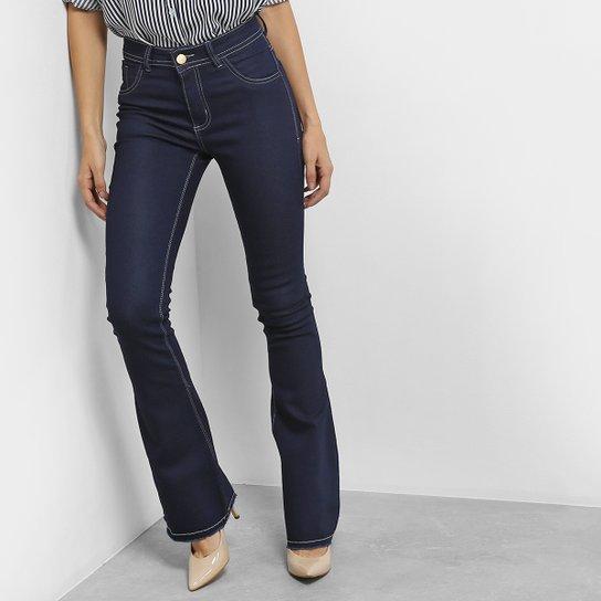 257f80ee2 Calça Jeans Flare Coffee Barra Desfiada Cintura Alta Feminina - Azul Escuro