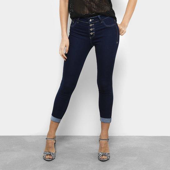 3d763768c Calça Jeans Cigarrete Coffee Cropped Botões Cintura Média Feminina - Azul  Escuro