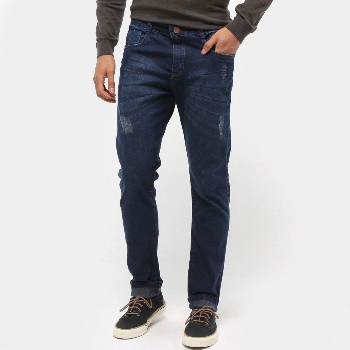 Calça Jeans Skinny Coffee Estonada Masculina
