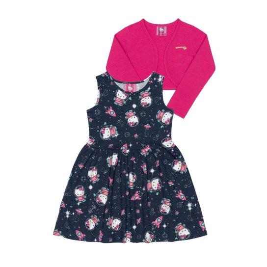 1edb8ca65b Conjunto Vestido E Bolero Bebê Cotton Hello Kitty Feminino - Azul Escuro