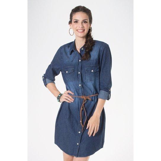 bdf8b0f26 Vestido Jeans Mercatto - Azul Escuro