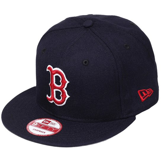 Boné New Era Aba Reta Snapback Mlb Boston Basic Co - Azul Escuro ... c520bb1d2e6