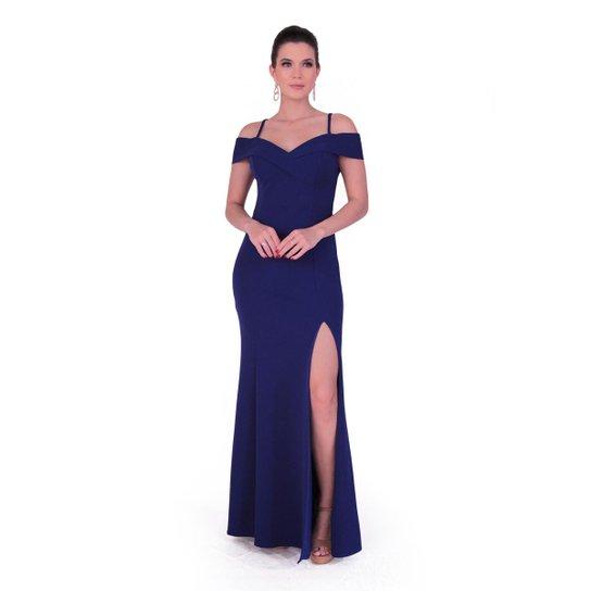94adca37d Vestido longo em crepe com elastano - Azul Escuro
