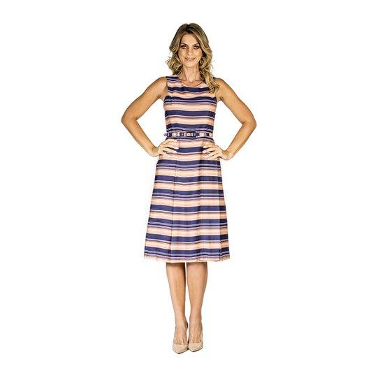 fa04f9547 Vestido Evasê Listrado Lucidez - Laranja