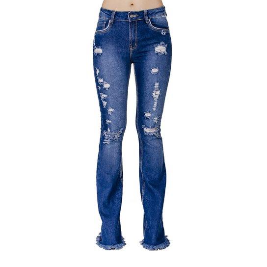 1fbaf12bb Calça Jeans Flare Destroyed Handbook Feminina - Azul Escuro | Zattini