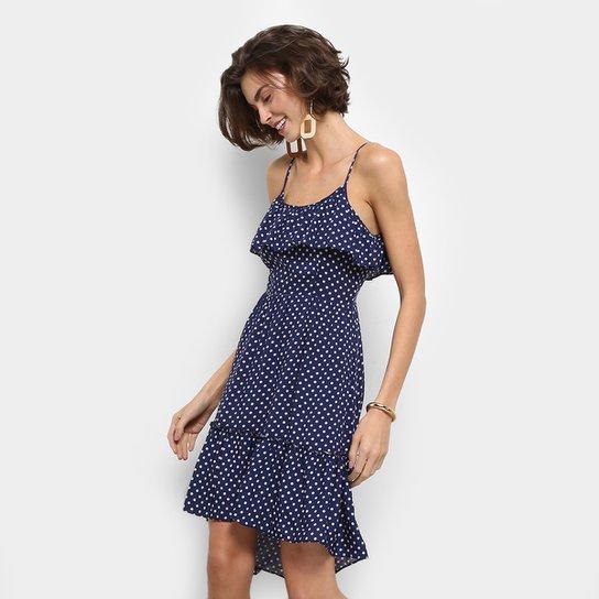 b65e008e6 Vestido Fiya Lady Evasê Curto Poá Alcinha - Azul Escuro