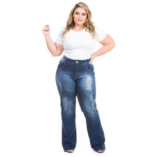 a22f416b5 Calça Confidencial Extra Plus Size Flare Jeans com Elastano Feminina - Azul  Escuro. Loading.