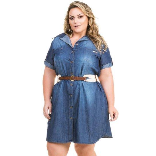 1368250c3 Vestido Confidencial Extra Plus Size Jeans Chemisie com Bolso Feminino -  Azul Escuro