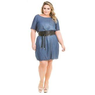 c40eeeee7 Vestido Confidencial Extra Plus Size Jeans Soltinho com Barra Desfiada  Feminino