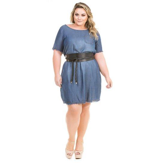 cdf92a29f87c Vestido Confidencial Extra Plus Size Jeans Soltinho com Barra Desfiada  Feminino - Azul Escuro