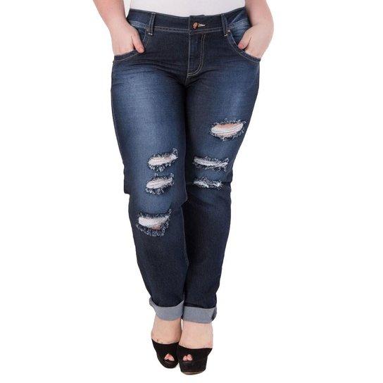 90fab156d Calça Confidencial Extra Plus Size Jeans Estonada Feminina - Azul Escuro