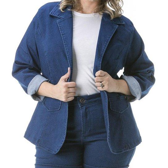8390397824 Blazer Confidencial Extra Plus Size Jeans com Gola Feminino - Azul Escuro