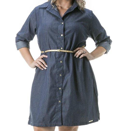 15eabd83de Vestido Confidencial Extra Plus Size Jeans Chemisier Manga Longa Feminino - Azul  Escuro